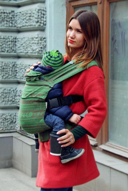 Эрго рюкзак шарфовый с бамбуком Karaush растущий, Forest