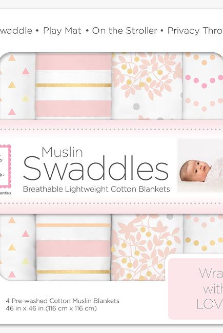 Муслиновые пеленки для новорожденного SwaddleDesigns большие, набор 4, Heavenly Floral Shimmer