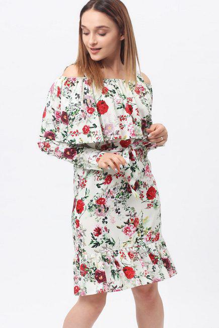 Платье для беременных и кормящих с воланом и длинным рукавом, цветочный принт