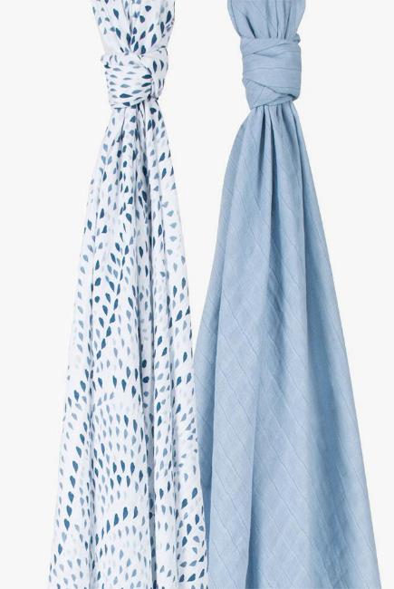 Муслиновые пеленки для новорожденного Bébé au Lait большие, Rose Serenity and Sky