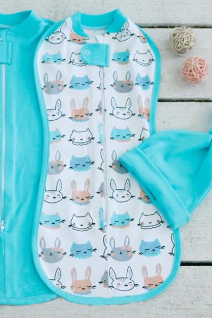 Пеленка кокон для новорожденных на молнии, Bunny Grey