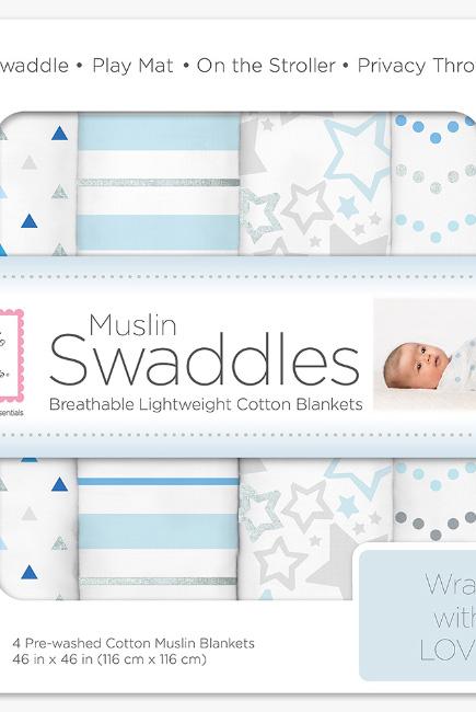 Муслиновые пеленки для новорожденного SwaddleDesigns большие, набор 4, Starshine Shimmer