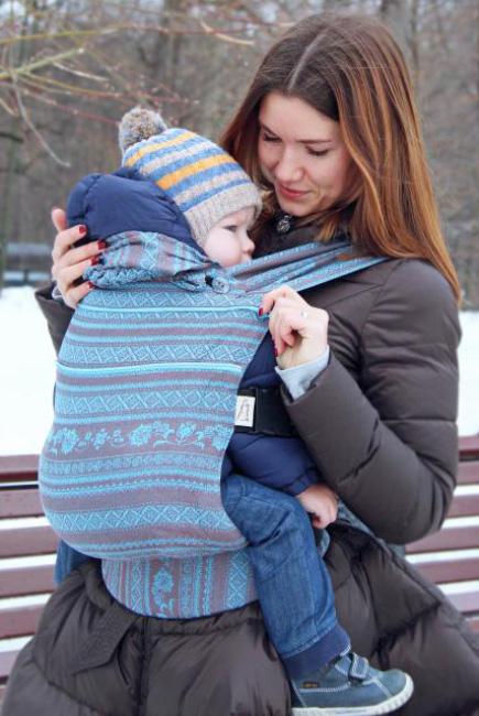 Эрго-рюкзак шарфовый с бамбуком Karaush растущий, Turquoise