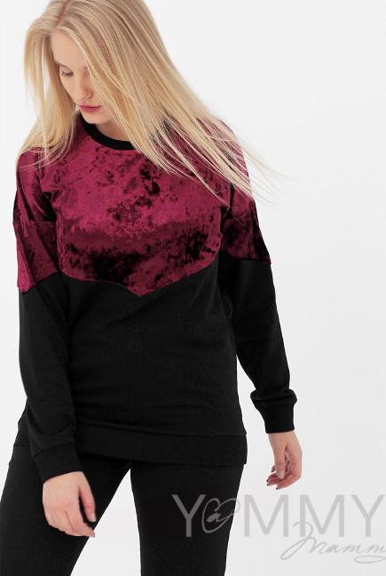 Джемпер для беременных и кормящих с велюром, цвет черный/бордо