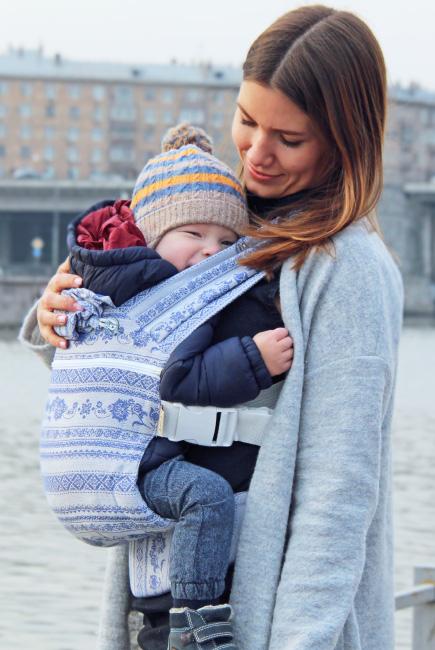 Эрго-рюкзак Karaush шарфовый с бамбуком растущий, Frost