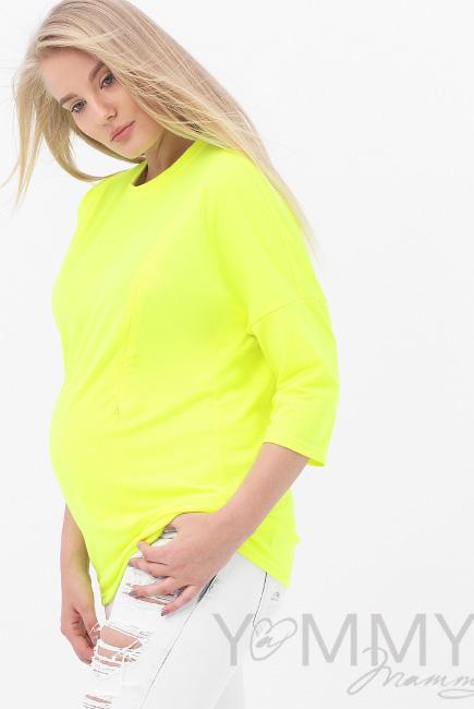 Лонгслив для кормящих и беременных, жёлтый неон