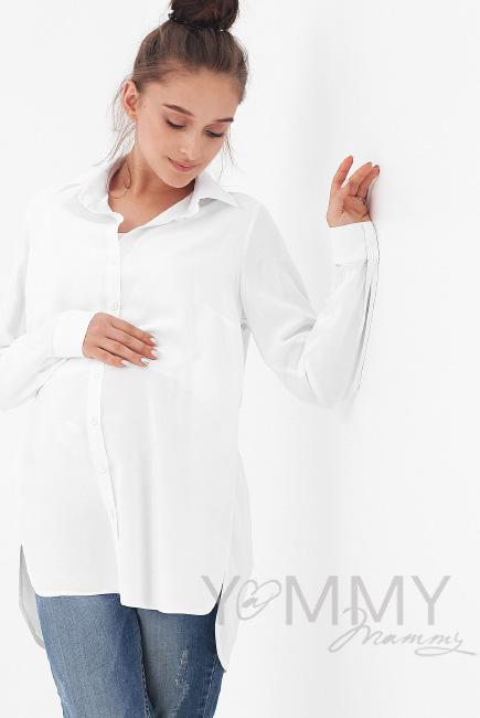 Рубашка для беременных и кормящих, белая