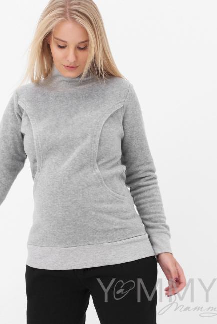 Джемпер для кормящих и беременных флисовый с высоким горлом, серый меланж
