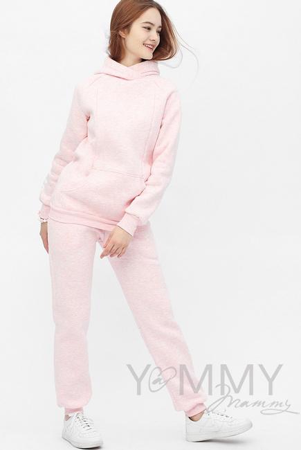 Костюм для беременных и кормящих с начесом, розовый меланж