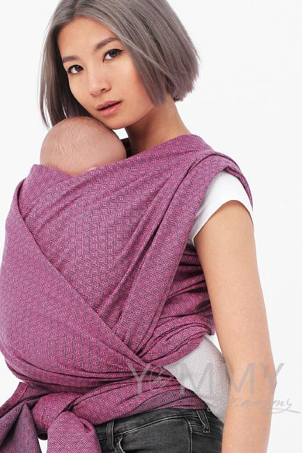 Слинг-шарф алмазного плетения YM, розовый/темно-серый