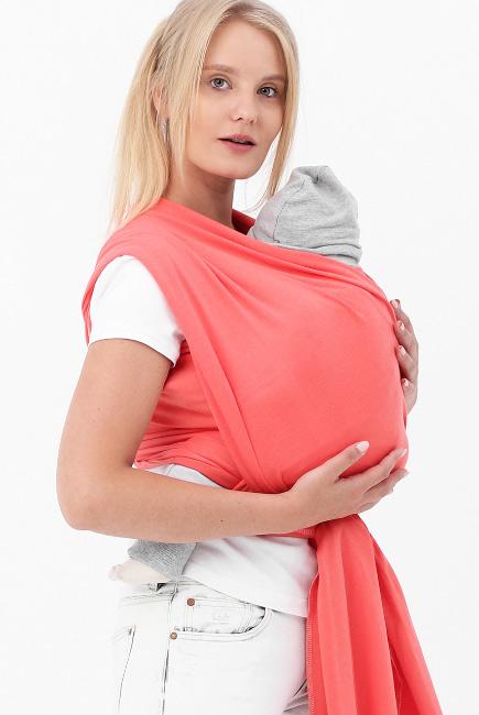 Слинг-шарф трикотажный, коралловый