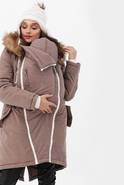 Зимняя слингокуртка - парка 3 в 1 с мехом, коричневый