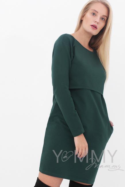 Платье для беременных и кормящих с длинным рукавом с карманами, милитари