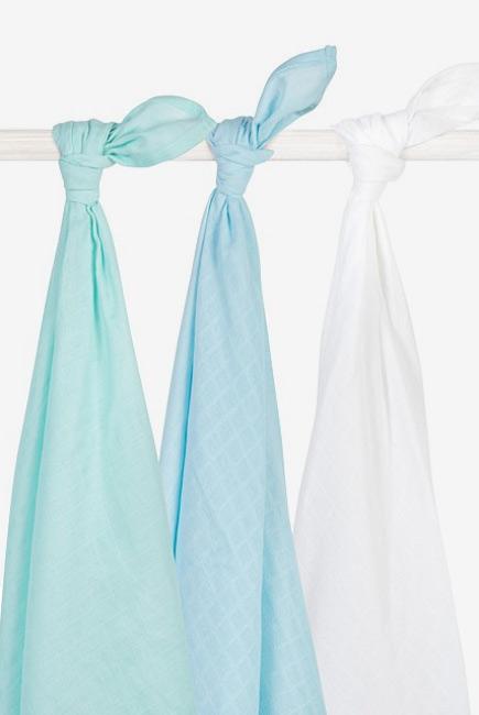 Муслиновые пеленки для новорожденных Jollein большие, mint/lagoon/white