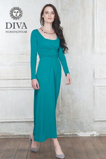 Платье для кормящих и беременных Diva Nursingwear Alba Maxi дл.рукав, цвет Smeraldo