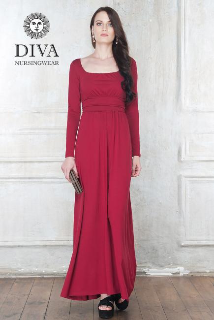 Платье для кормящих и беременных Diva Nursingwear Stella Maxi дл.рукав, цвет Berry