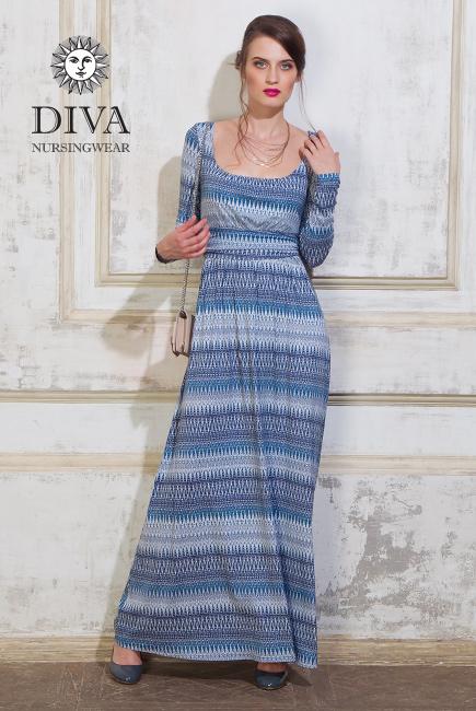 Платье для кормящих и беременных Diva Nursingwear Stella Maxi дл.рукав, принт Iceberg
