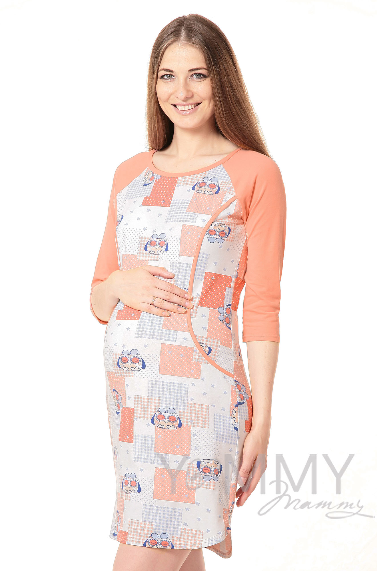 Платье для дома и сна персик / экрю / совы