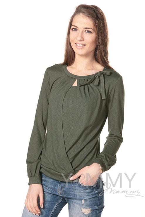 Блуза для беременных и кормящих с бантом, цвет хаки