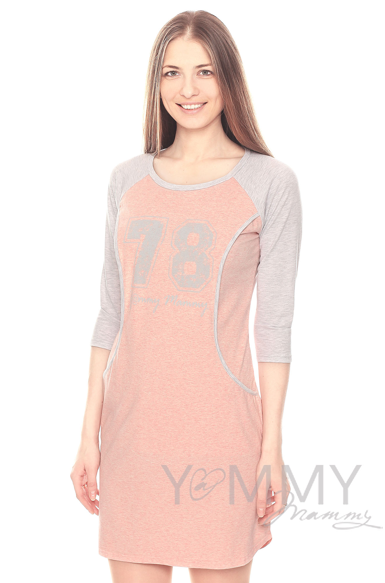Платье для дома и сна розовый меланж / серый с принтом