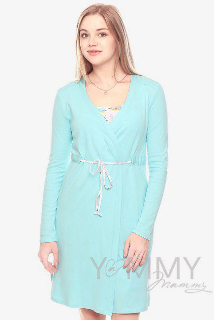 Комплект халат с сорочкой ментол с принтом котики и зайчики