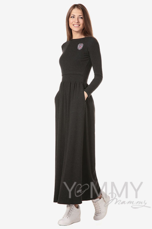 Платье длинное для беременных и кормящих с начесом, темно-серый меланж