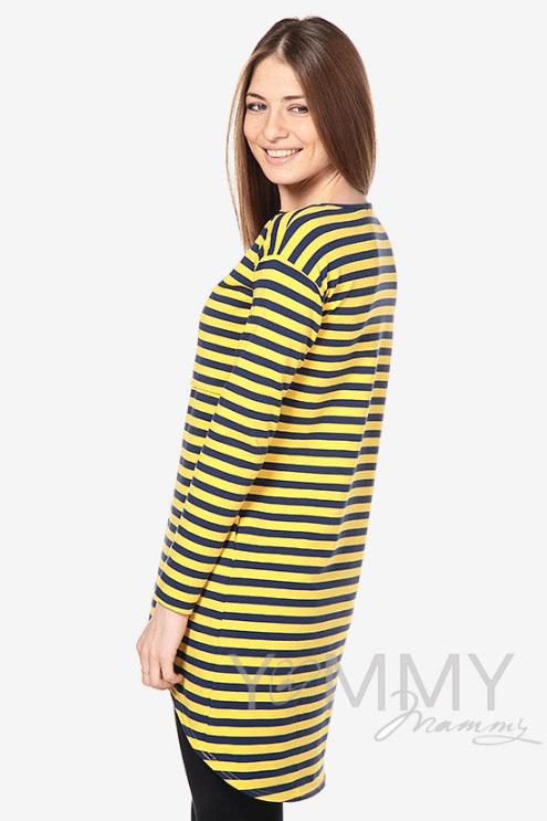 Платье-туника для беременных и кормящих с длинным рукавом желтая / синяя полоска