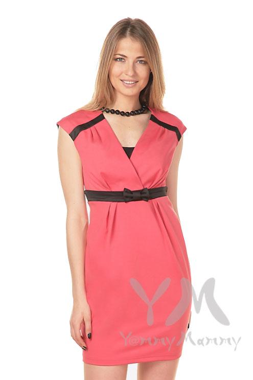Платье с атласным бантиком для беременных и кормящих, коралл