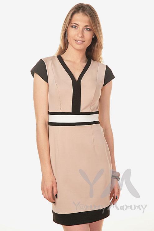 Платье с секретом на молнии для беременных и кормящих, бежевое