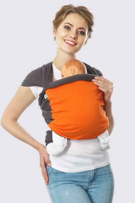 Слинг-шарф трикотажный Fusion, серо-оранжевый