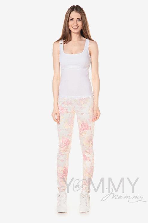 Брюки для беременных и родивших универсальные, из джинсы с цветочным принтом