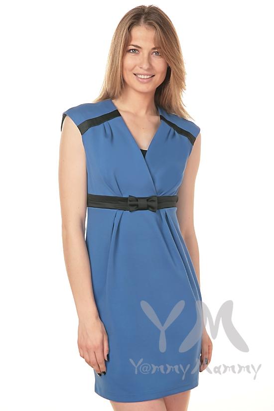 Платье с атласным бантиком для кормящих и беременных, ультрамарин