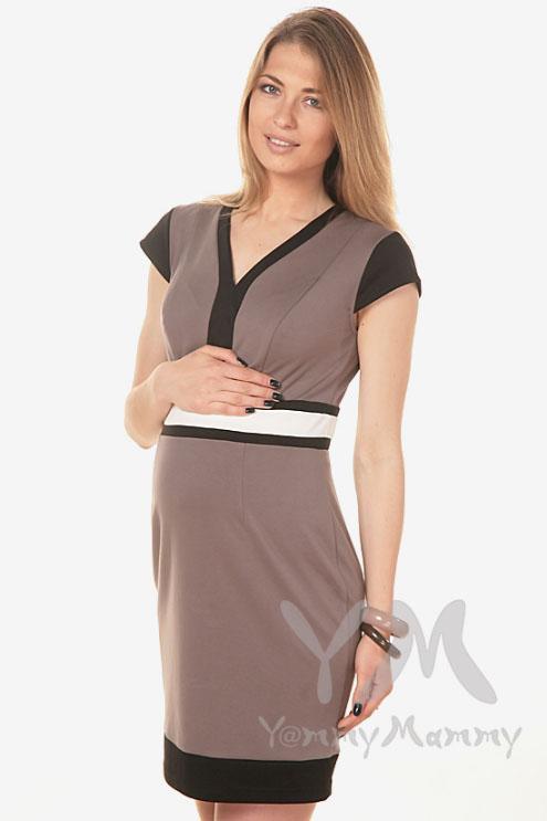 Платье с секретом на молнии для кормящих беременных, кофе с молоком