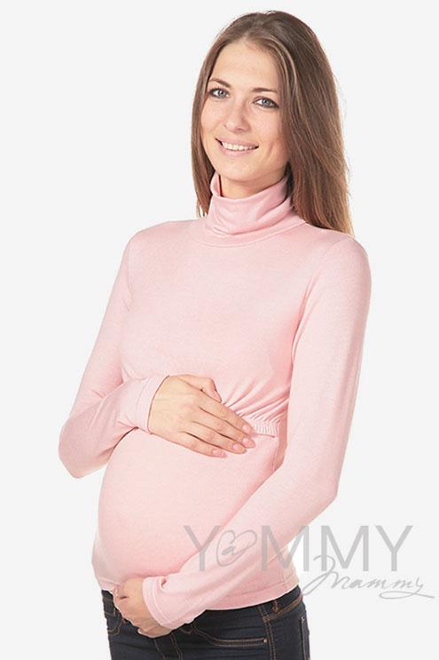 Водолазка для беременных и кормящих, цвет жемчужно-розовый