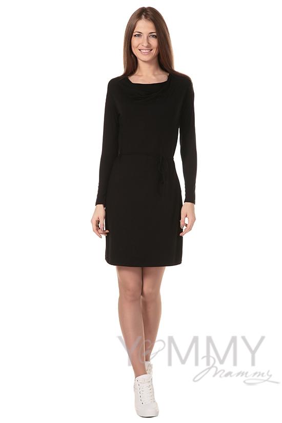 """Платье для беременых и кормящих с горловиной """"качелька"""" из модала, чёрное"""