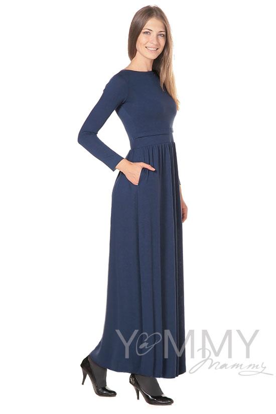 Платье для беременных и кормящих с карманами, темный индиго