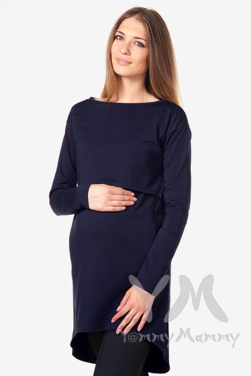 Платье-туника для беременных и кормящих с длинным рукавом, темно-синее