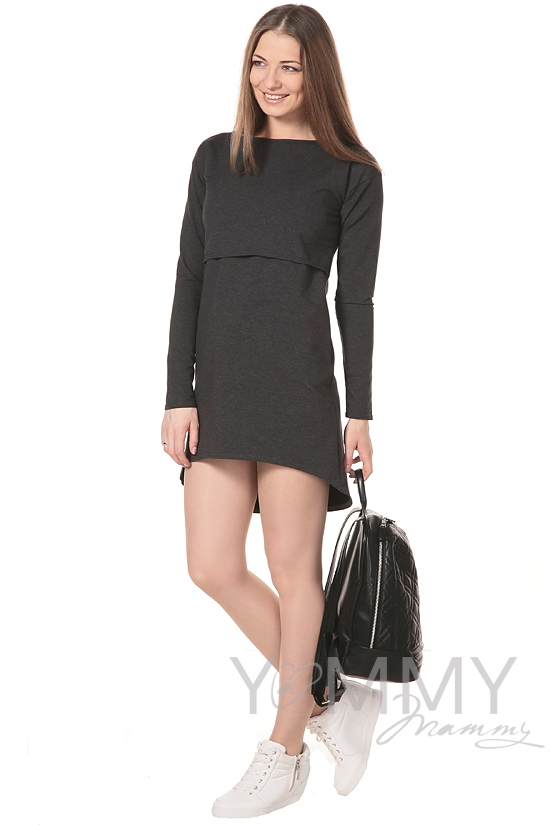 Платье-туника для кормящих и беременных с длинным рукавом, темно-серое