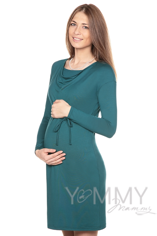 """Платье из модала для кормящих и беременных с горловиной """"качелька"""", изумрудное"""
