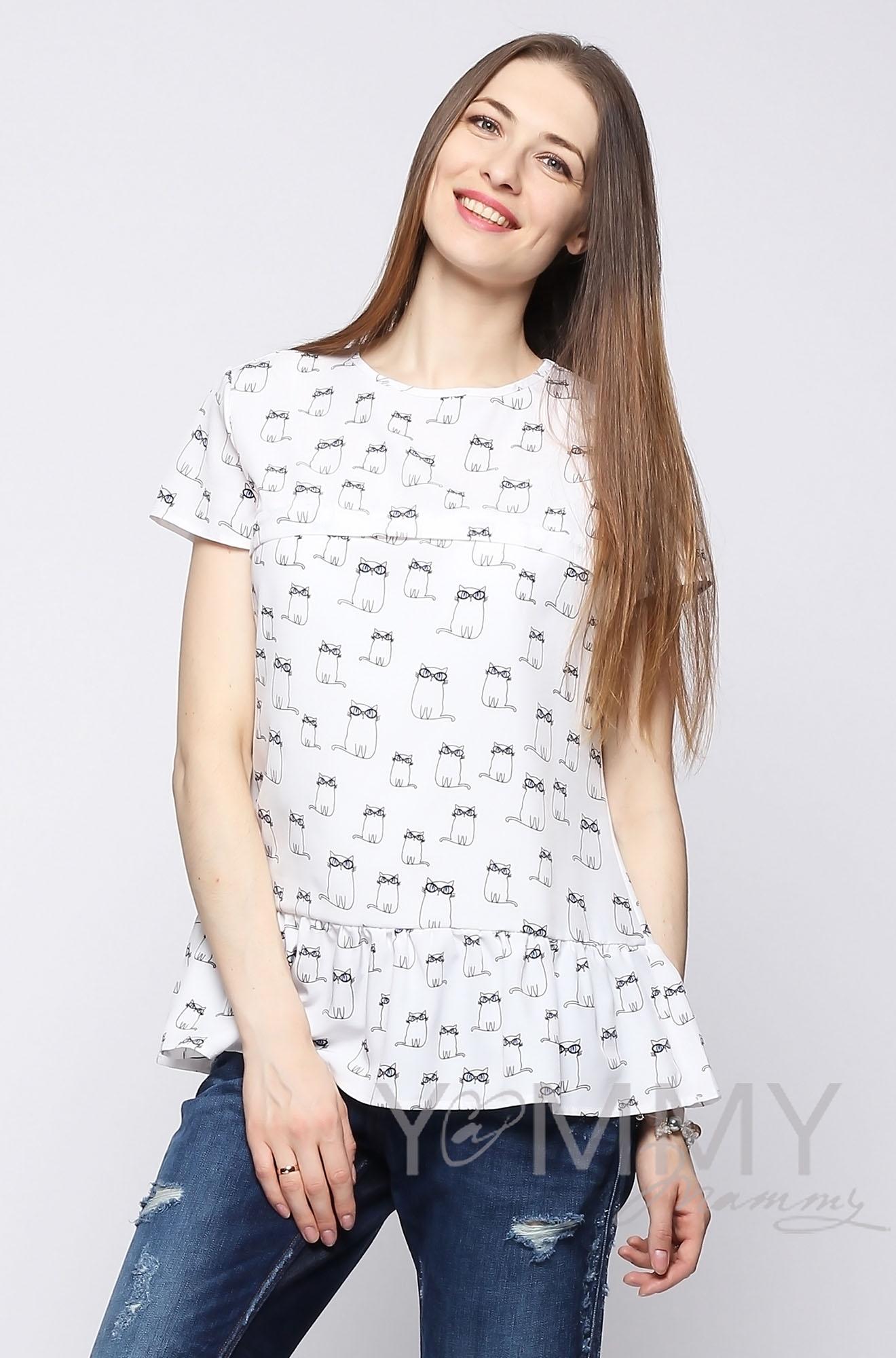 """Блуза с воланом для кормящих и беременных, белая с принтом """"коты"""""""