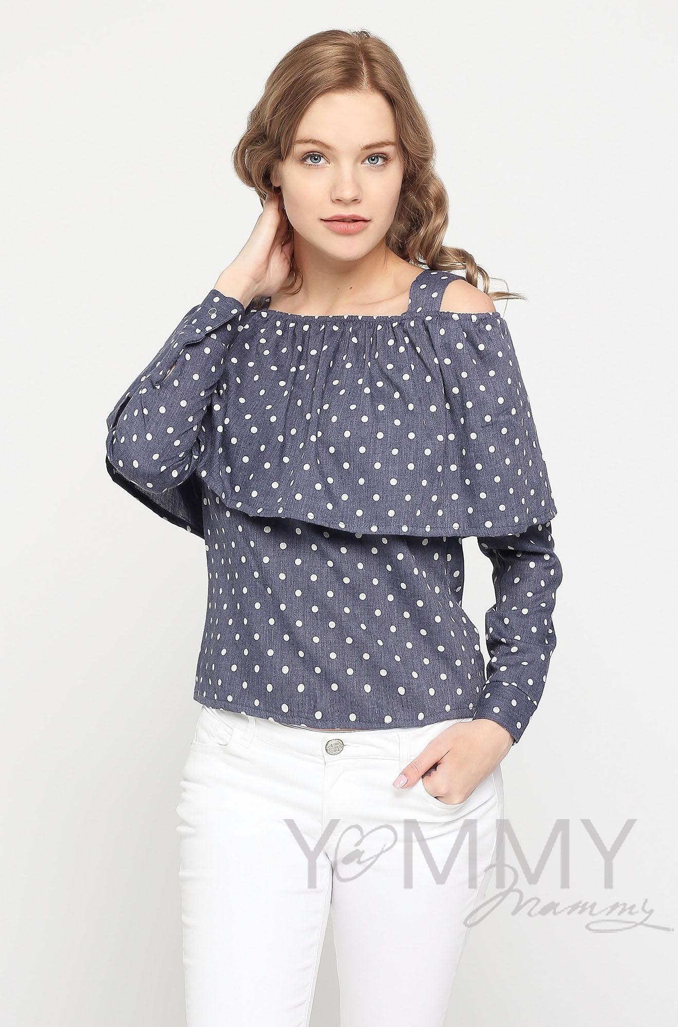 Блуза с воланом для кормящих и беременных, синяя в горох