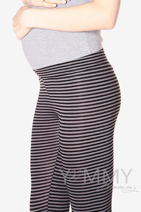 Лосины для родивших и беременных, универсальные серая / черная полоска