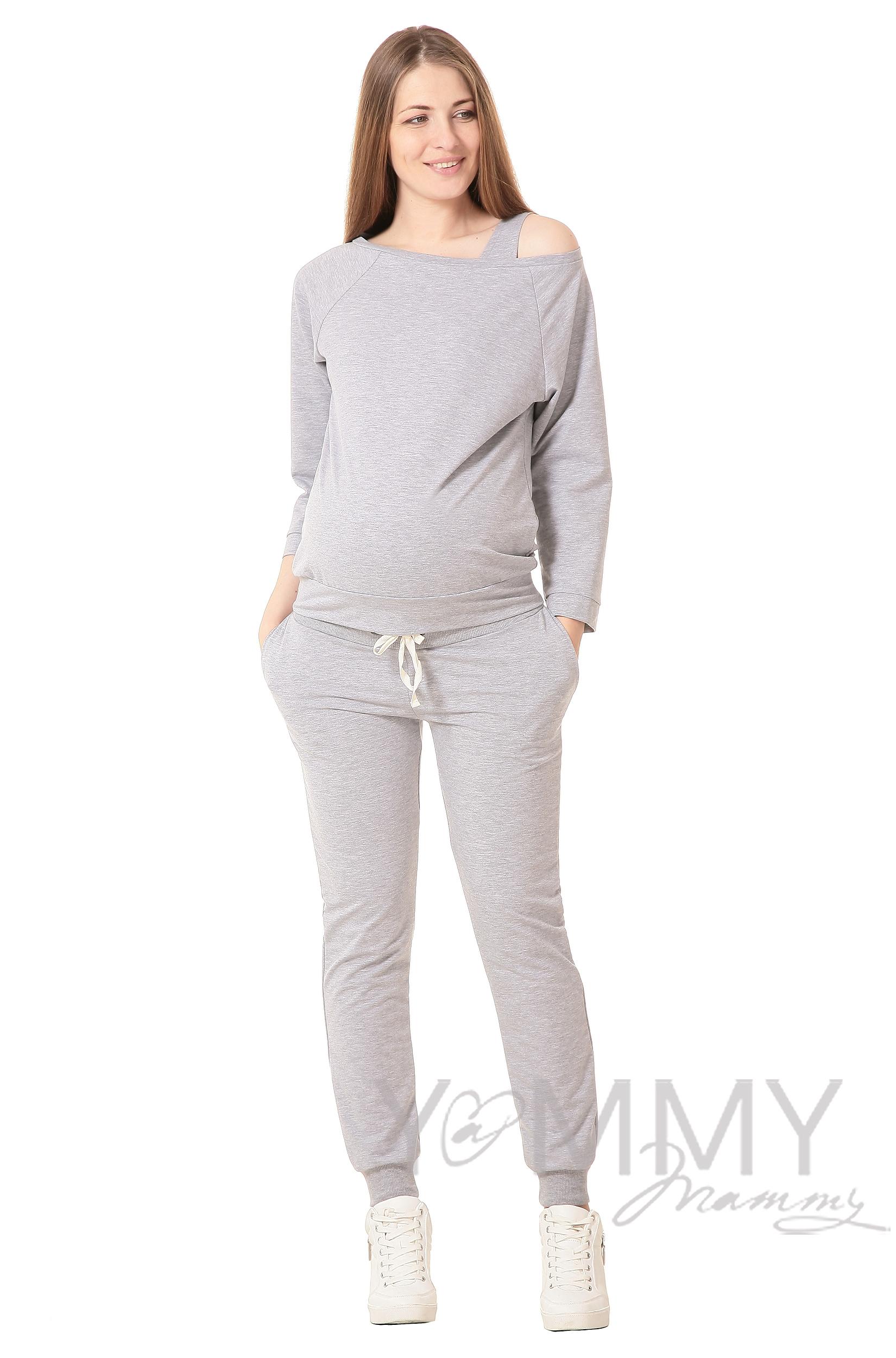 Брюки для родивших и беременных универсальные, спортивные из футера серый меланж