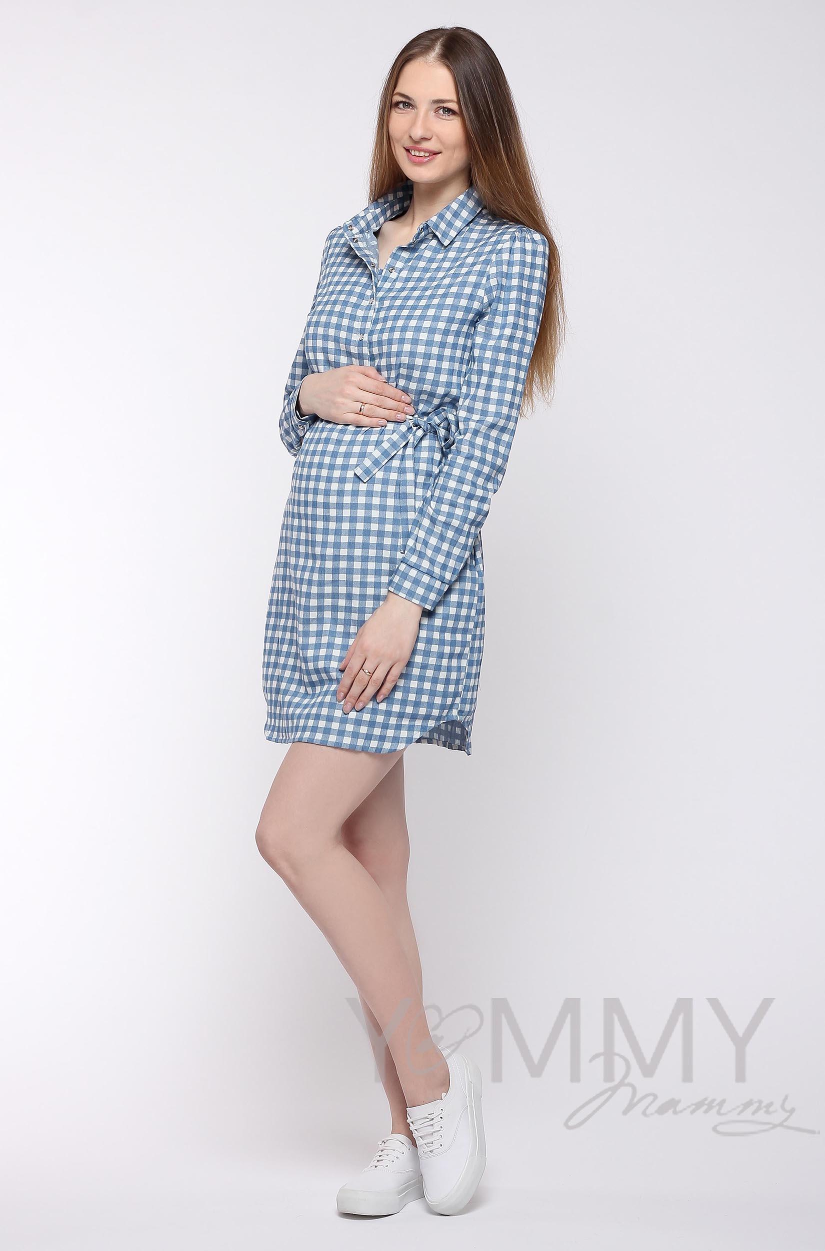 Платье-рубашка для кормящих и беременных, джинсовое в белую клетку