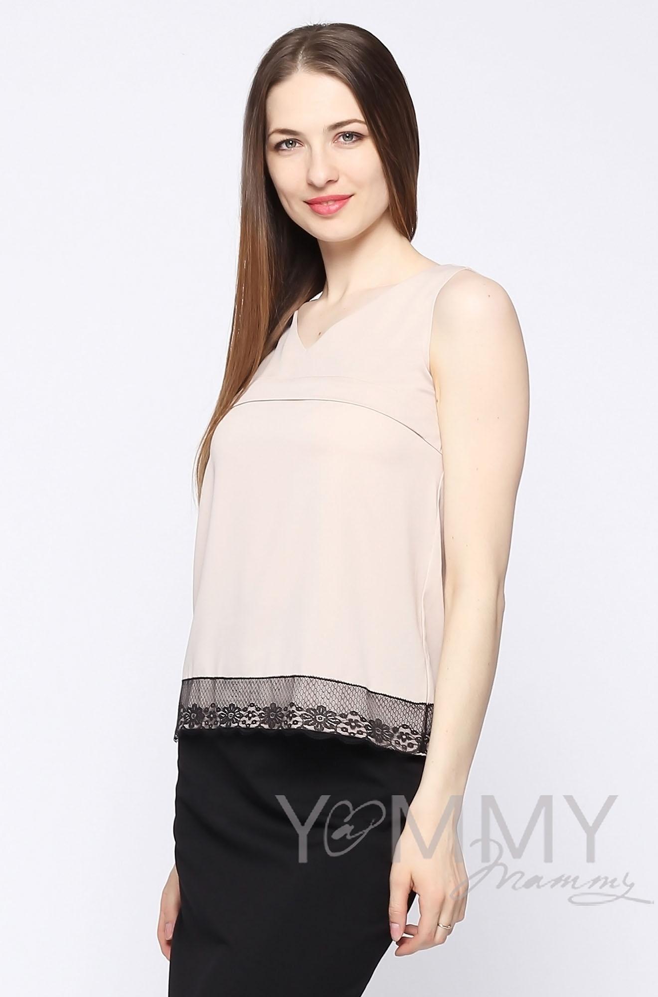 Блуза для беременных и кормящих, бежевая с кружевом
