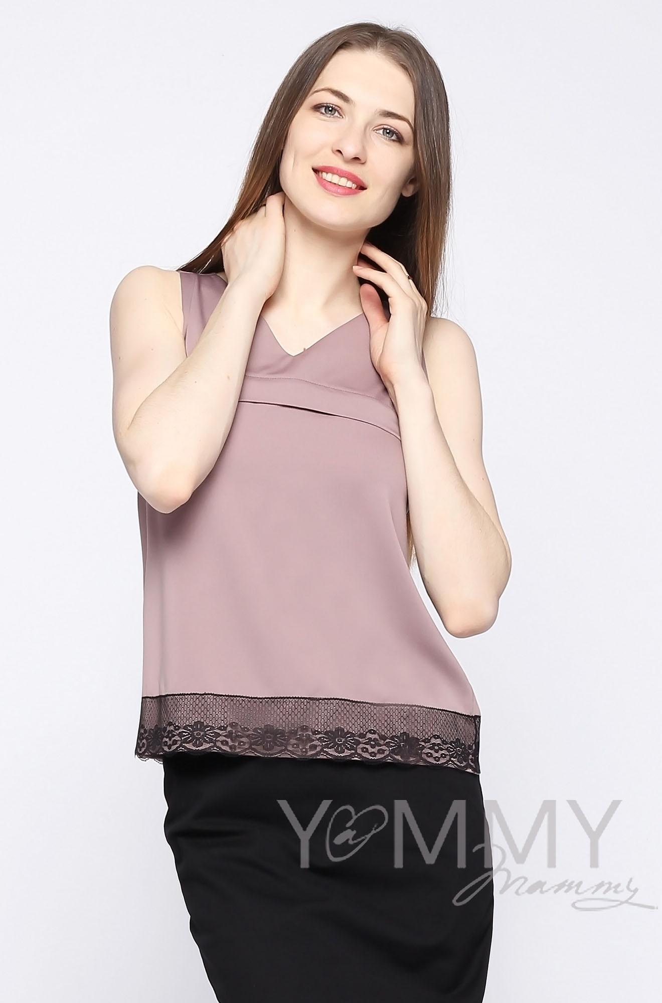 Блуза для беременных и кормящих, капучино с кружевом