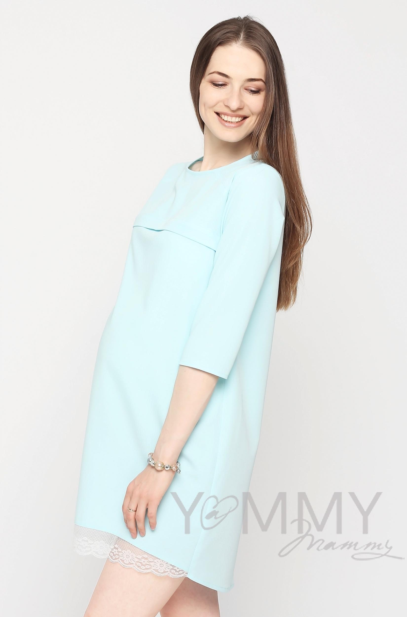 Платье для беременных и кормящих с кружевом, небесно-голубое