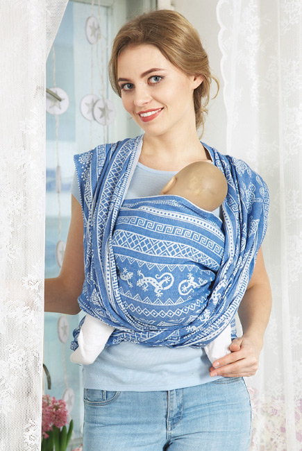 Слинг-шарф Ящерицы, синий