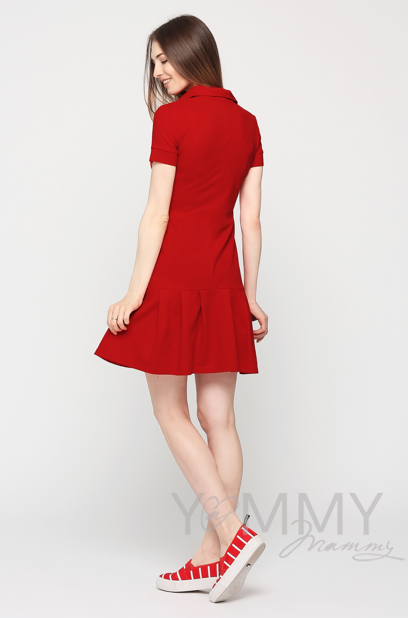 Платье для кормящих и беременных поло с воланом, красное