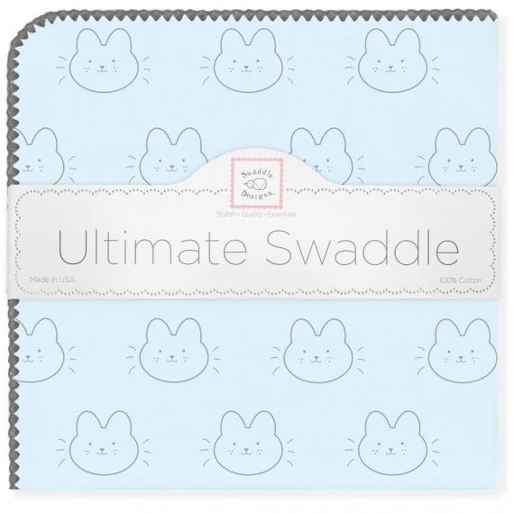 Фланелевая пеленка для новорожденного SwaddleDesigns Ultimate Bonjour Bunnie Pstl Blue